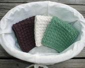 Spa Collection Hand Knit Facial Cloths / Spa Cloths / Wash Cloths / Dish Cloths