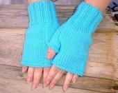 Versatile Turquoise Hand Knit Fingerless Gloves