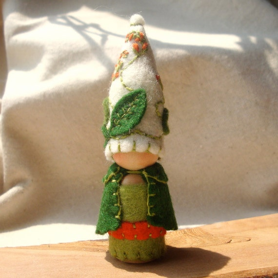 Summer Garden Gnome Scarlet Runner  Waldorf Inspired Storytelling Natural Dollhouse Doll