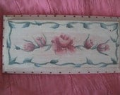 Hand Painted Rose Wooden Plaque Shabby And Chic Cottage Decor