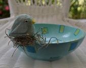 Carved Aqua Bird On Vintage Bowl