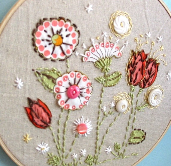 hand embroidery with vintage buttons