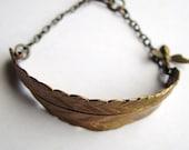 Brass Feather + Bee Bracelet
