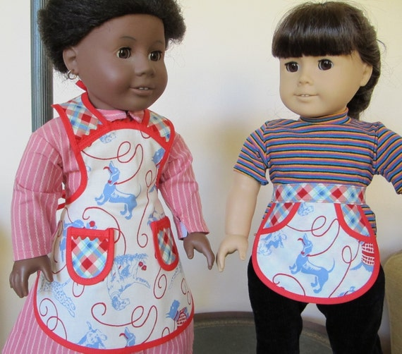 LIttle Bitty Vintage Everyday and Eco Chic Everyday Aprons for American Girl Dolls or other 18 inch dolls