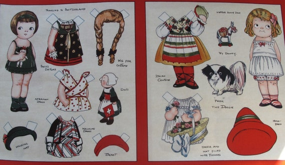 Aunt Lindy's Paper Dolls Around the World - LAST ONE Fabric panel with 8 different dolls - 6.00