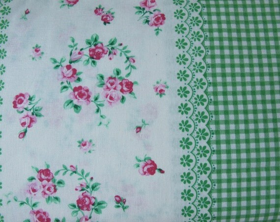 LAST 1 1/4 Yards - Flower Sugar Fabric Vintage Border Stripe  - Green Gingham and Floral - 12.00 Dollars