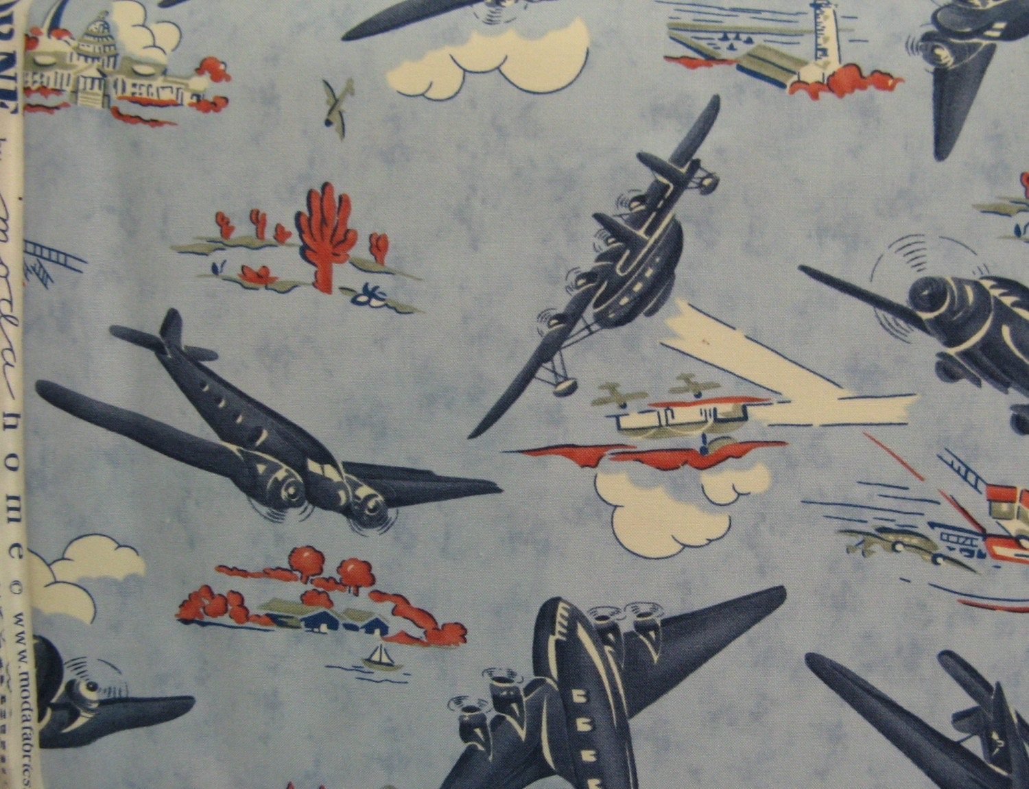 Airborne airplane fabric by moda home yard for Airplane fabric by the yard