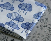 Weather Pattern Fabric - Cobalt Blue on White -  Half a Yard