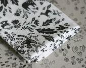 Forest Story - Damask Fabric - Half Yard - Black on White