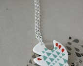 Pi Bird -  Porcelain and Sterling Silver Necklace