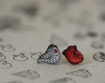 Heart Sparrow - Earring Studs