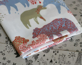 Bear Day Fabric - Blue and Red - Small Piece