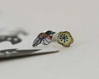 Extinct Birds - Kioea and Cotton Flower - Earring Studs