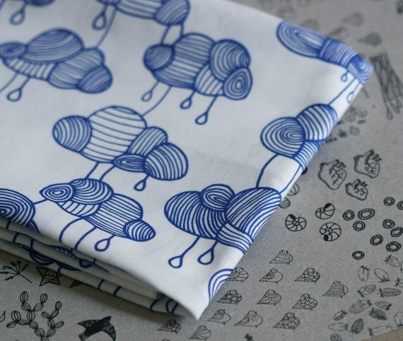 Weather Pattern Fabric - Cobalt Blue on White -  Half a Yard