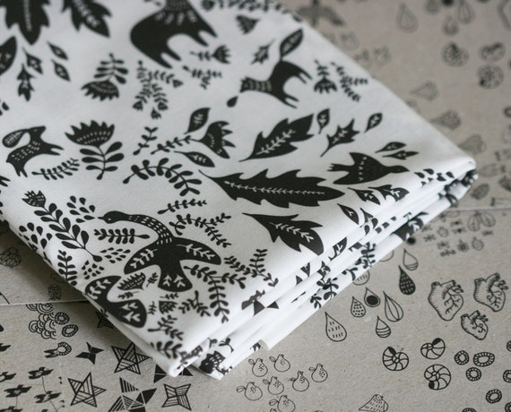Forest Story - Damask Fabric - Small Piece - Black on White