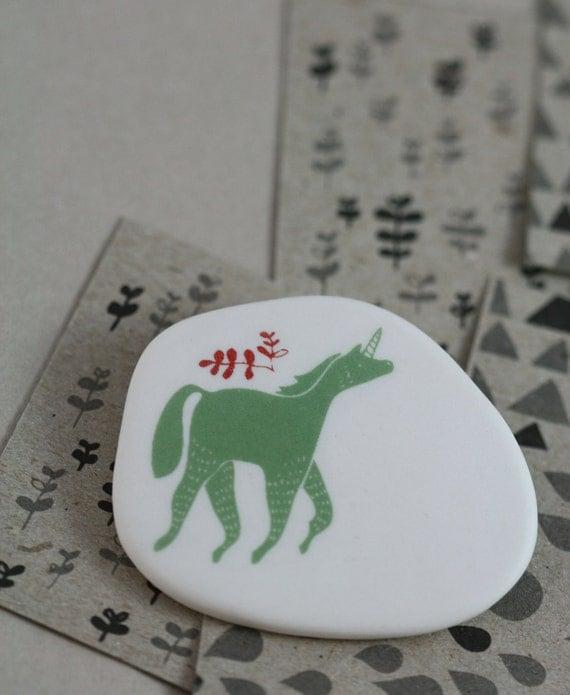 Unicorn - Sage -  Porcelain Brooch
