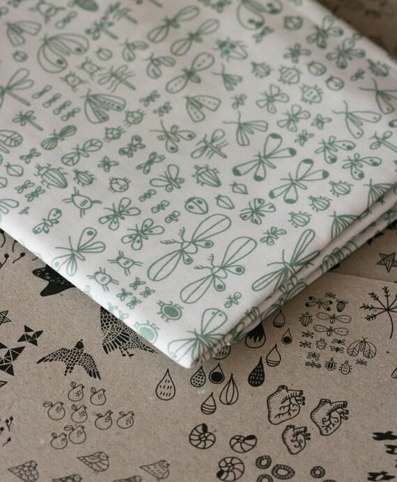 Bugs Fabric - Sage and White - Half Yard