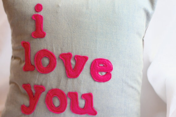 FREE SHIPPING - I Love You - Felt Appliqued Pillow
