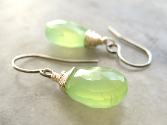 Lime Green Earrings - wedding bridesmaid jewelry, simple silver wire wrapped green chalcedony gemstone drop - Lime Green Chalcedony