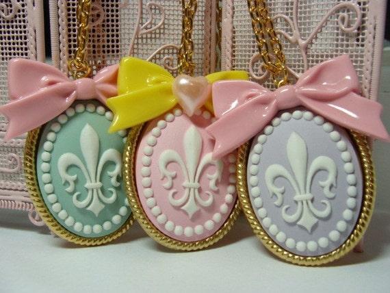 Beautiful Fleur De Lis Cameo Necklaces - Your choice of color
