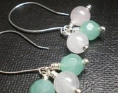 SALE - Cotton Candy - Chalcedony and Quartz Drop Earrings