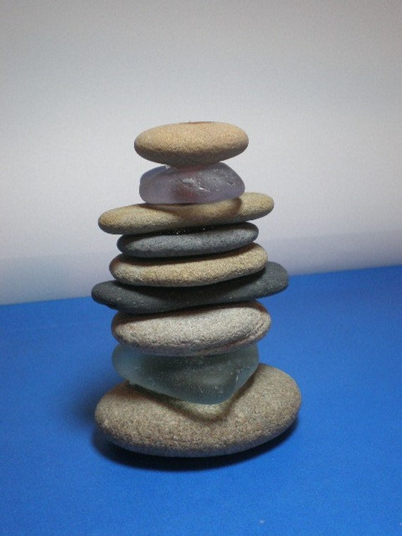 The Summer Home - Genuine Beachstone and Sea Glass Bud Vase or Sculpture
