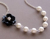 Bridesmaids GIFT, Necklace and Earrings Set, Customizable Flower Jewelry, Pearl Necklace, Wedding Jewelry, Flower Jewelry
