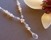 Bridal Necklace, Sterling Silver & Swarovski Crystal Y Necklace, Wedding Jewelry - 1087