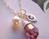 Custom Monogrammed Necklace - Sterling Silver, Swarovski Crystal and Rhodium Stamped Leaf Charm -  2000