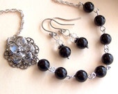 Bridesmaids  Gift Necklace and Earring Set - Black Swarovski Pearl, Flower Silver Necklace - Wedding Favors, Bridal Party - 2078