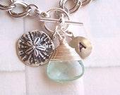 Personalized Bracelet, Coastal Jewelry, Bridesmaids Jewelry, Sand Dollar Jewelry, Nautical Jewerly, Custom Stone Jewelry