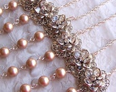 Bridesmaid GIFT SET of Six (6) Necklaces - Customizable Swarovski Pearl, Flower Jewelry - Wedding Favors - 3037