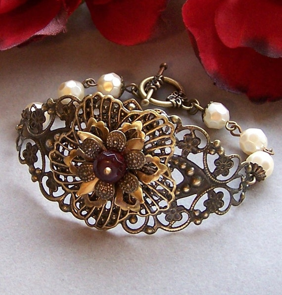 Vintage Style Bracelet with Ivory Pearls, Dark Red Stone and Antiqued Brass Filigree, Wedding, Bridal, Wedding Favors - 2032