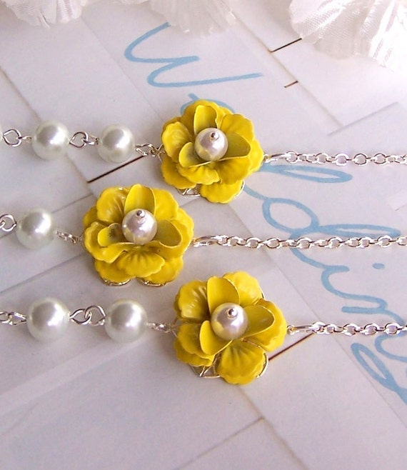 Bridesmaids Gifts - Three Necklace and Earrings Sets, Yellow Flower, Bridal Jewelry, Custom Flower, Flower Jewelry - 2092