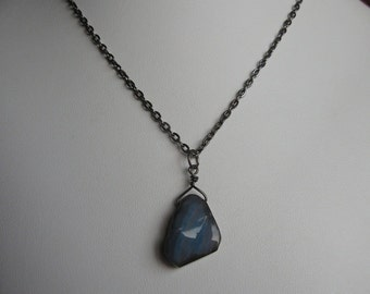 Gunmetal Chain Necklace with Agate Pendant