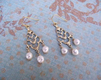 Antique Brass and Pearl Chandelier Earrings