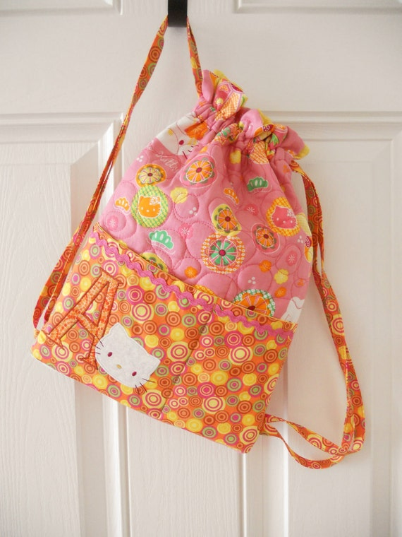 Custom monogram Childs Hello Kitty Backpack style bag by lil REDS