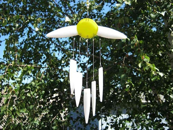 Daisy Wind Chime Glass, Love Wind Chime, Glass Windchime