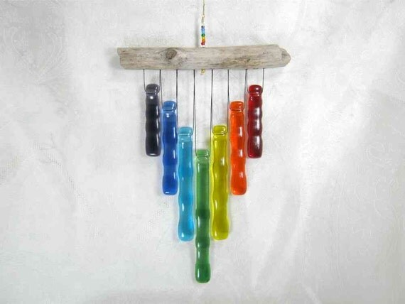 Rainbow Glass Wind Chime with Oregon Driftwood        Ap12 2