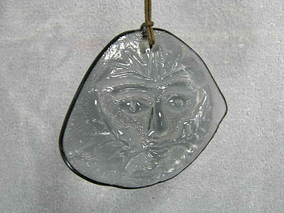 Gray Green Man of Upcycled TV Glass