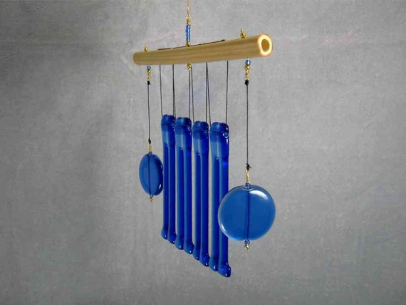 Twinned Blue Glass Wind Chime with Bamboo