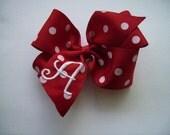 Boutique Monogrammed Pinwheel Hairbow... U Choose Initial