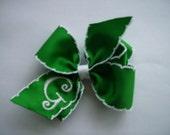 Green Monogrammed Hair bow.. U choose initial