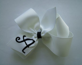 Monogrammed White Hairbow with black initial.. U choose initial
