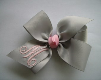 Monogrammed Initial Boutique Pink and Gray Custom Hair Bow