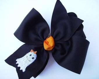 Large Hair Bows, Halloween Ghost, Black Wide Ribbon, Custom Boutique, Girls School, Fall Autumn, Theme Kids, Hairbow, Clip Barrette,  Big