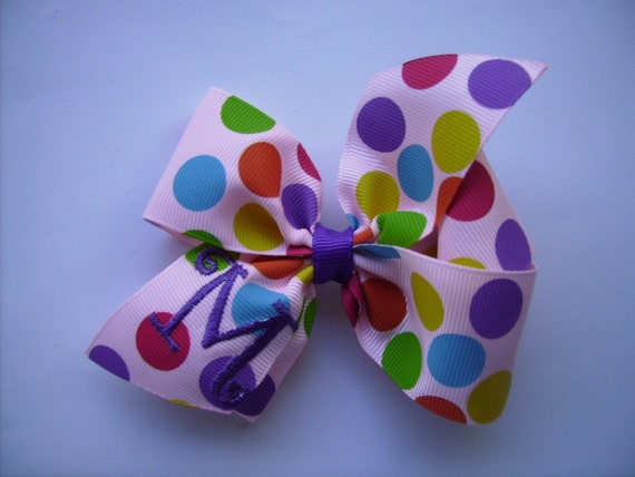 Monogrammed Bubble Gum Dots Hair bow.. U choose initial.