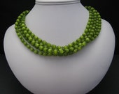 Green Cats Eye Five Strand Necklace