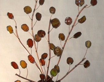 Send Peace this year with Copper Olive Branches- Stained  Glass 2 1/2ft Tall-pair