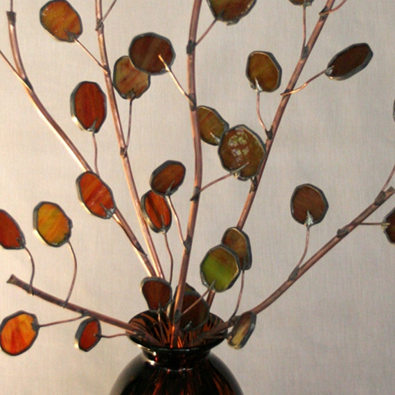 Send Peace this year with Copper Olive Branches- Stained Glass 3ft Tall Branch